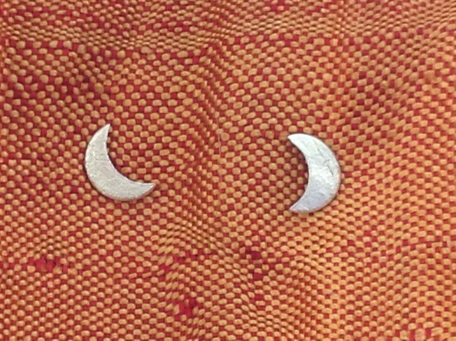 Sterling Silver Tiny Flat Crescent Zina Kao Handmade Earrings Made in USA
