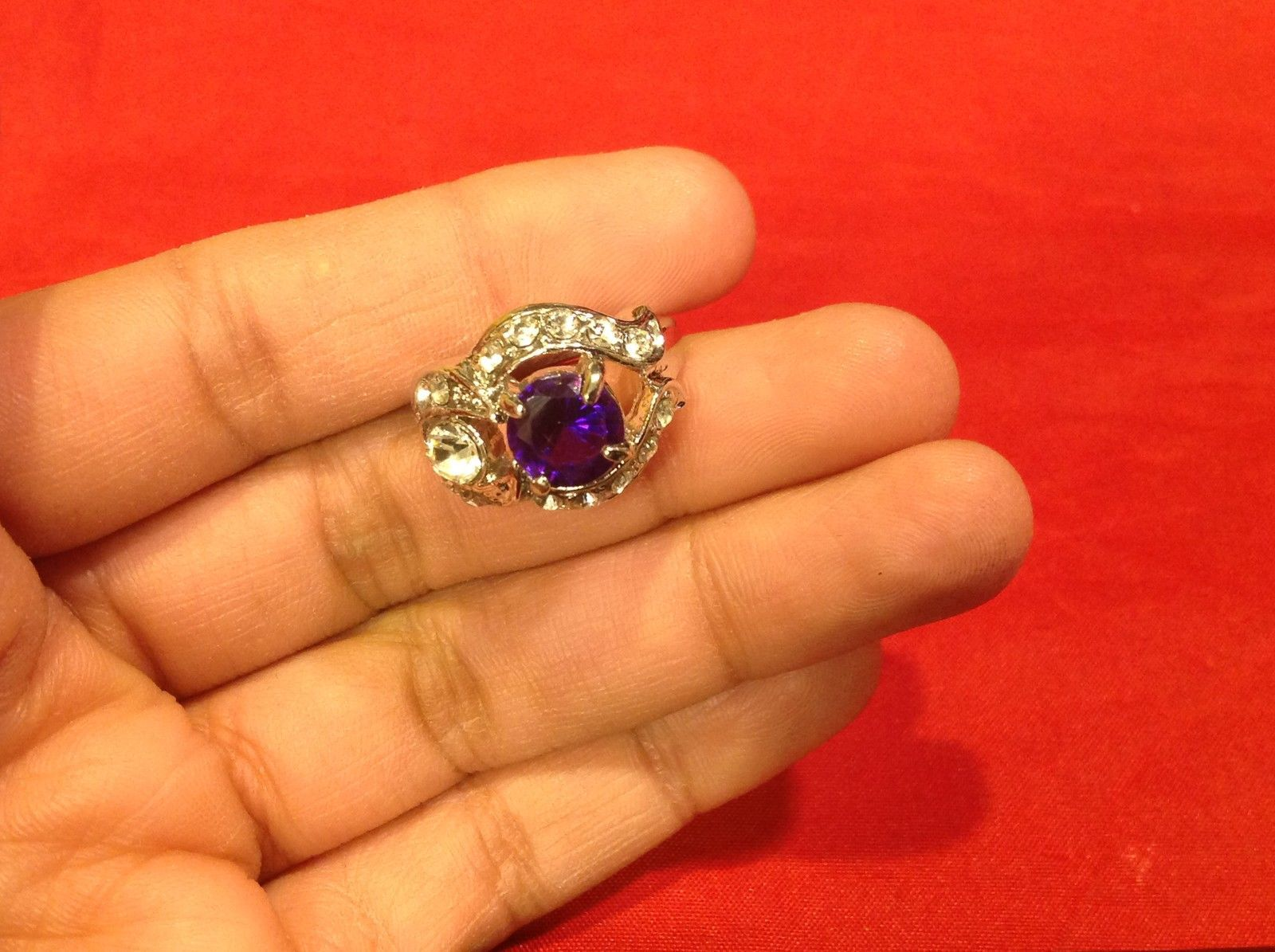 Stainless Steel Crystal Stone Ring 7.3 Purple Silver
