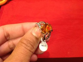 Stainless Steel Crystal Stone Ring 6.2 Quarter Orange Silver