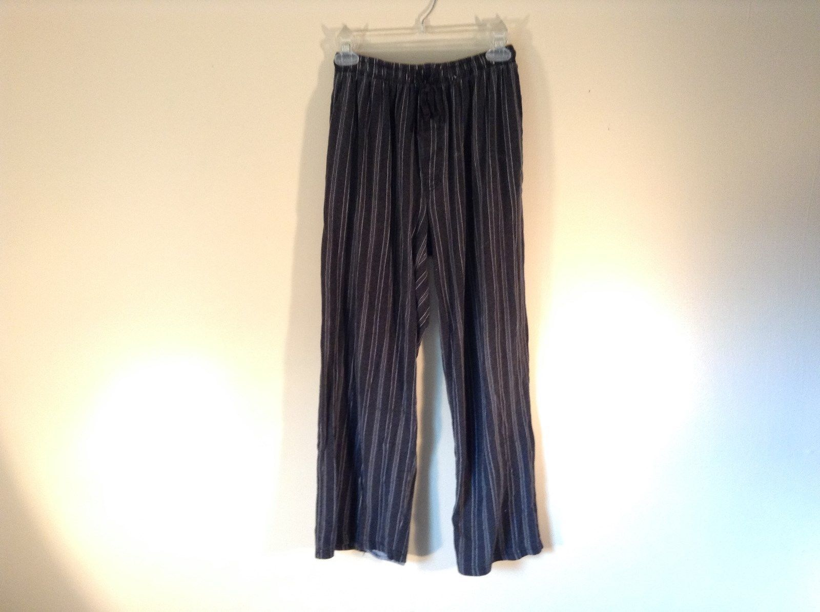 Stafford Essentials Sleepwear Classic Fit Charcoal Pinstripe Pajama Pants Size M