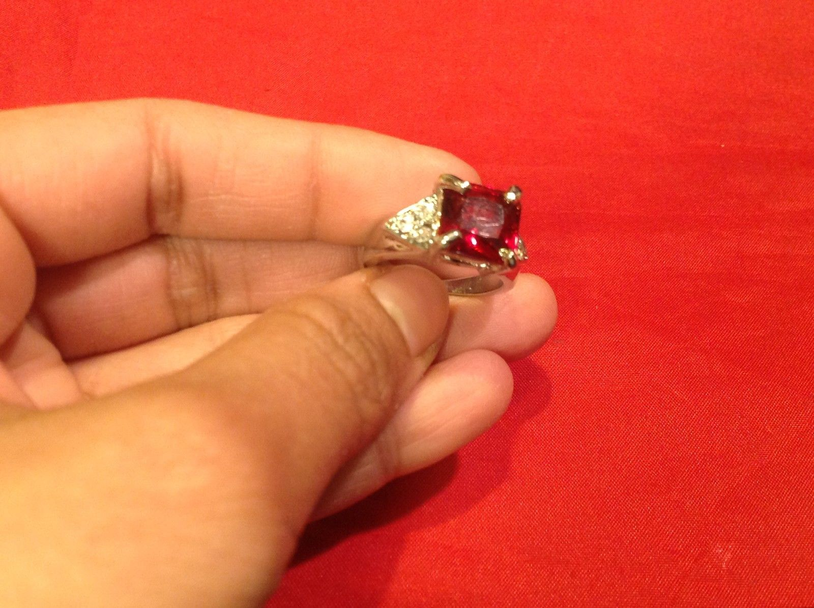 Stainless Steel Crystal Stone Ring 6.3 Red Silver