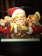 Stand Up Santa with loads of dolls and toys Christmas home decor w/glitter