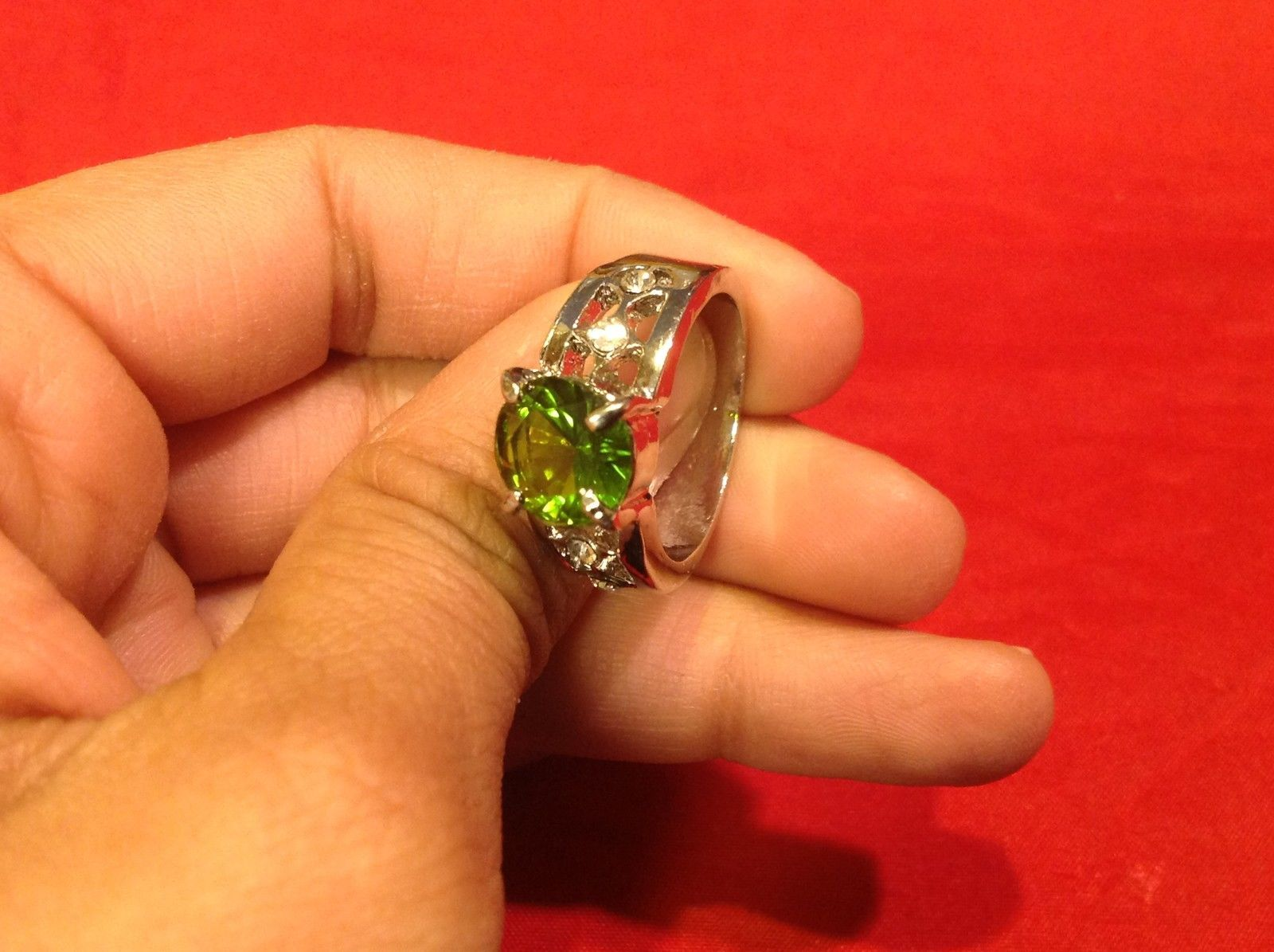 Stainless Steel Crystal Stone Ring 9.1 Green Silver