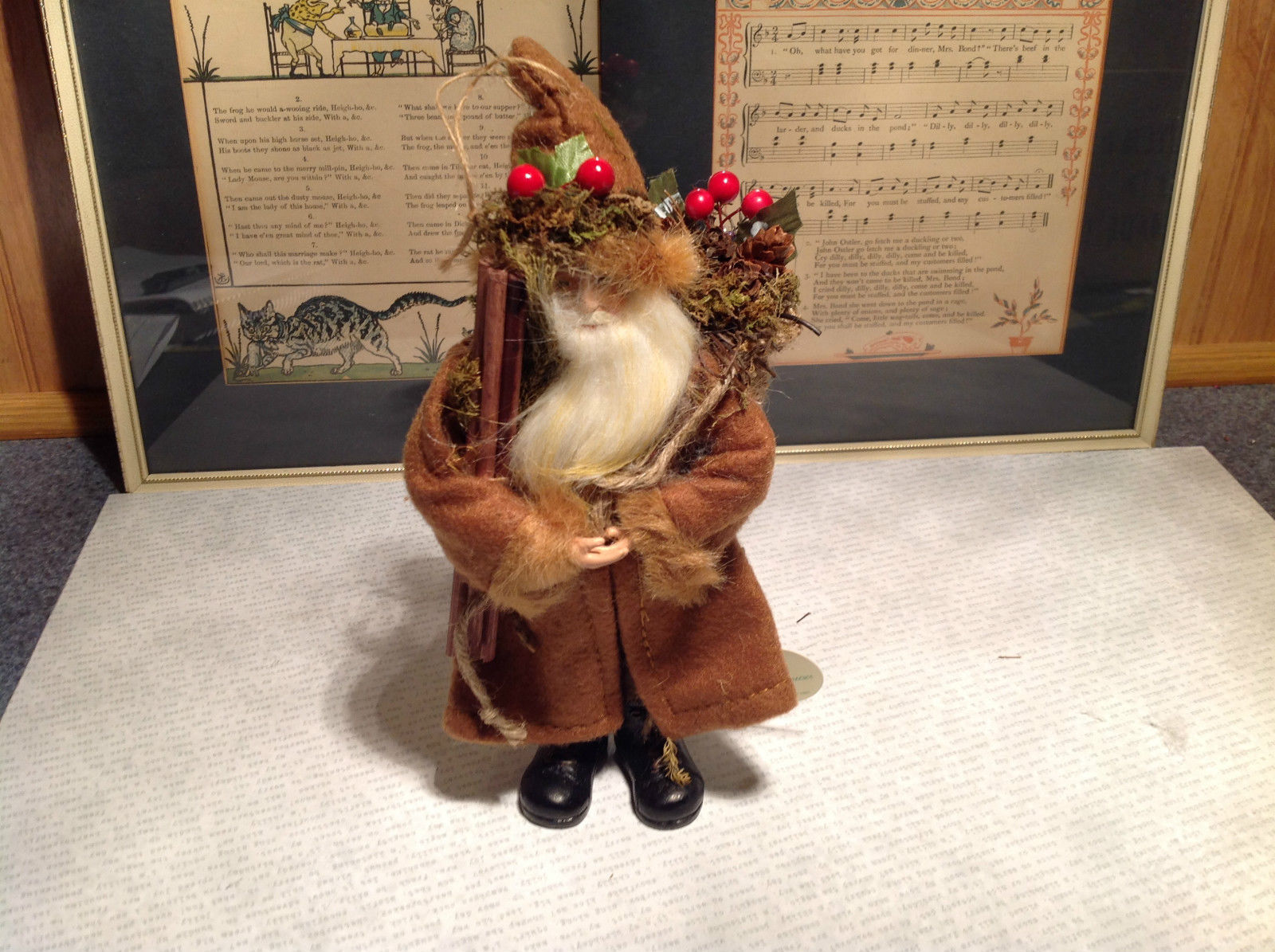 Standing Santa elf Ornament Woodland Real Brown Fabric Jacket and Hat Berries