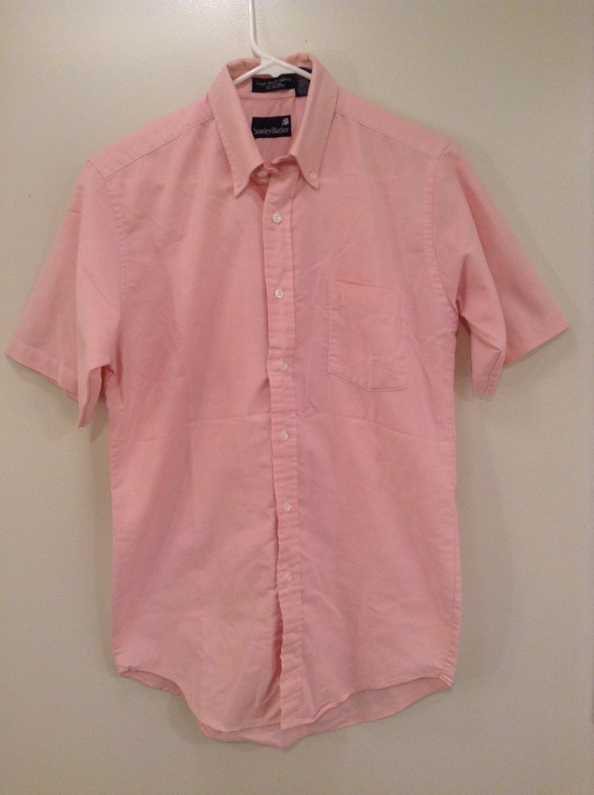 Stanley Blacker Pink Short Sleeve Button Up Shirt Chest Pocket Size 15