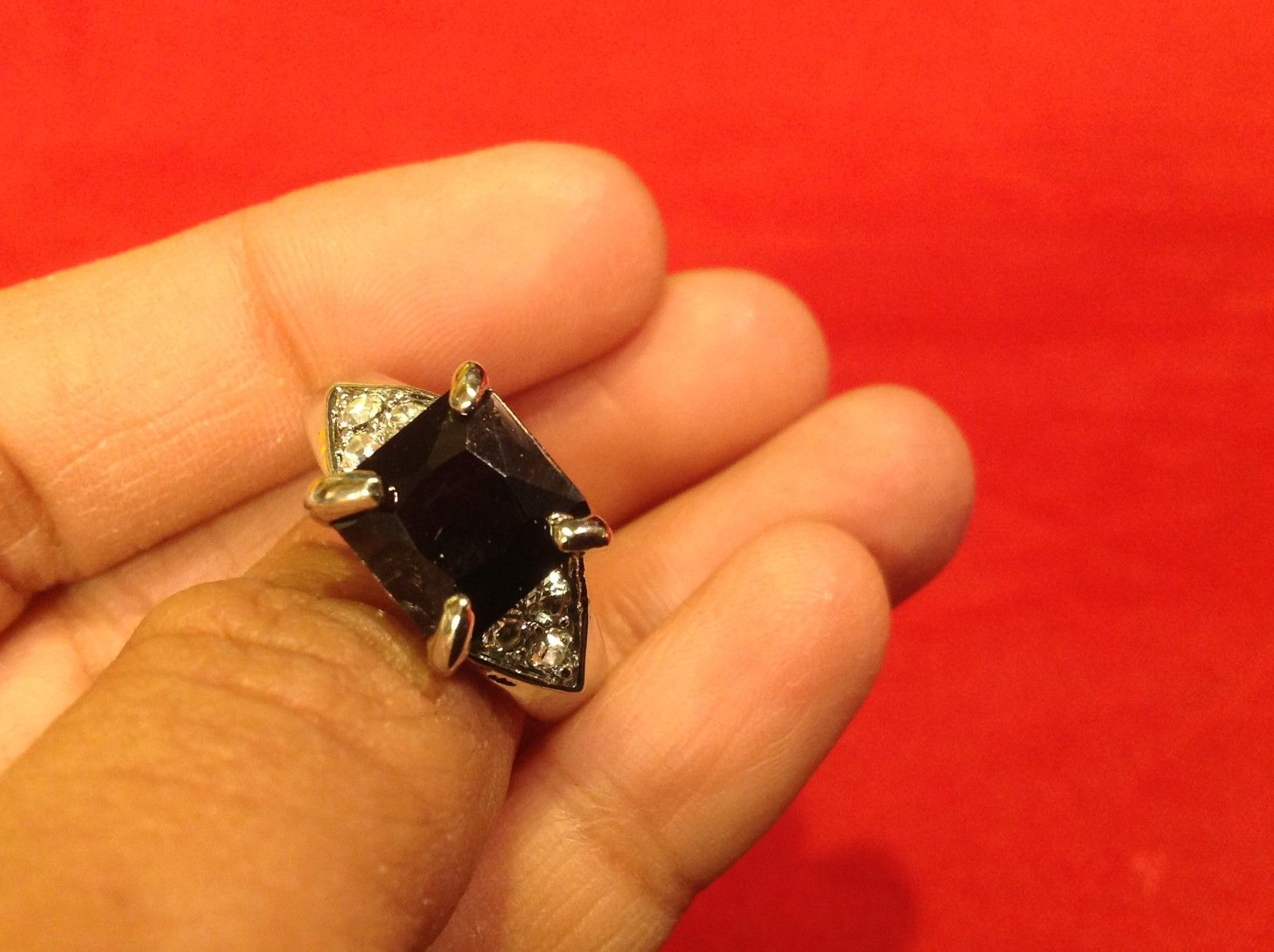Stainless Steel Crystal Stone Ring 9.1 Black Silver