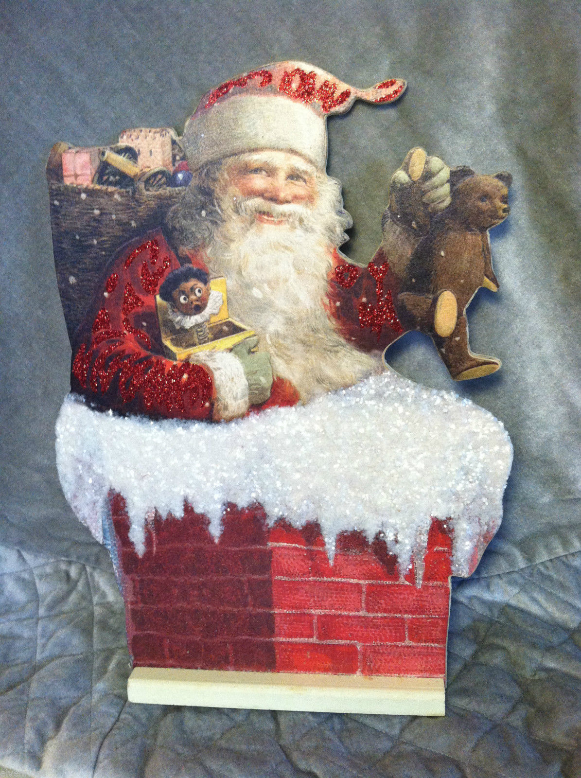 Stand Up Santa in Chimney Christmas home decor w/glitter