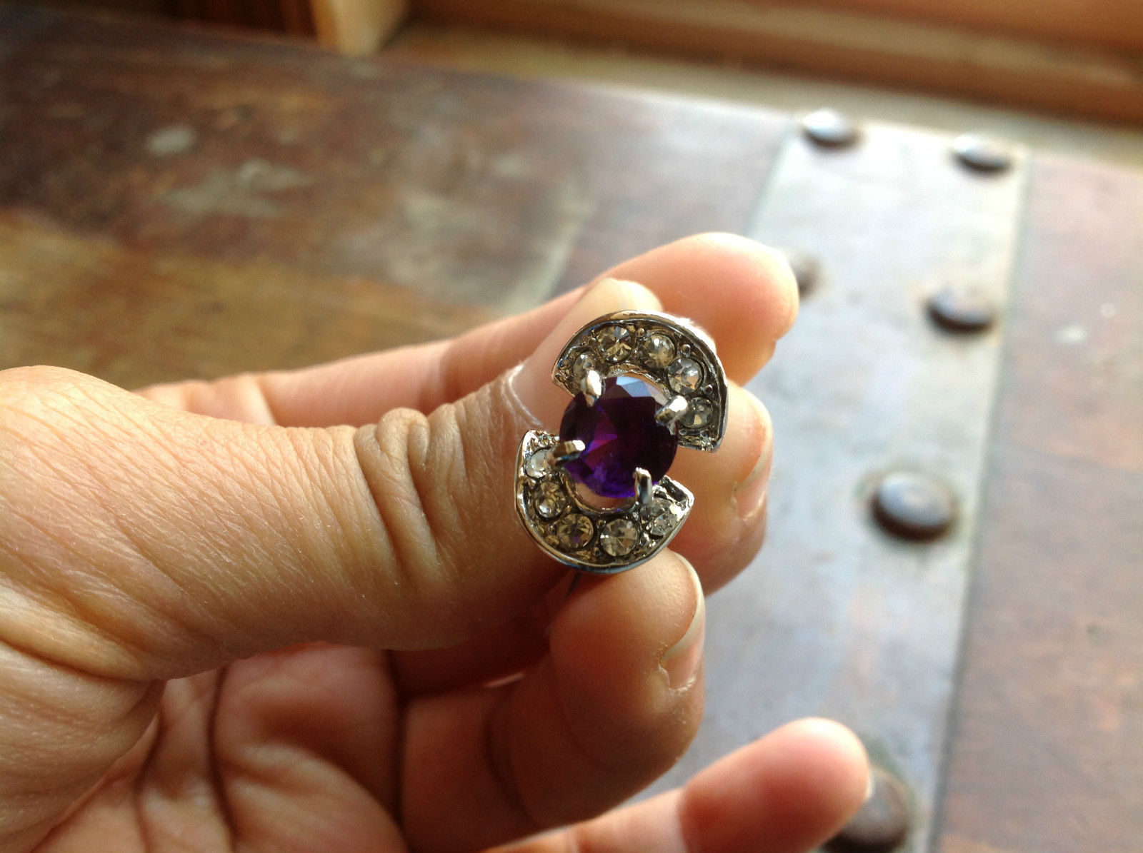 Stainless Steel Ring Purple-Crystal Stone 4 Clear Stones on Side 8.1 Quarter