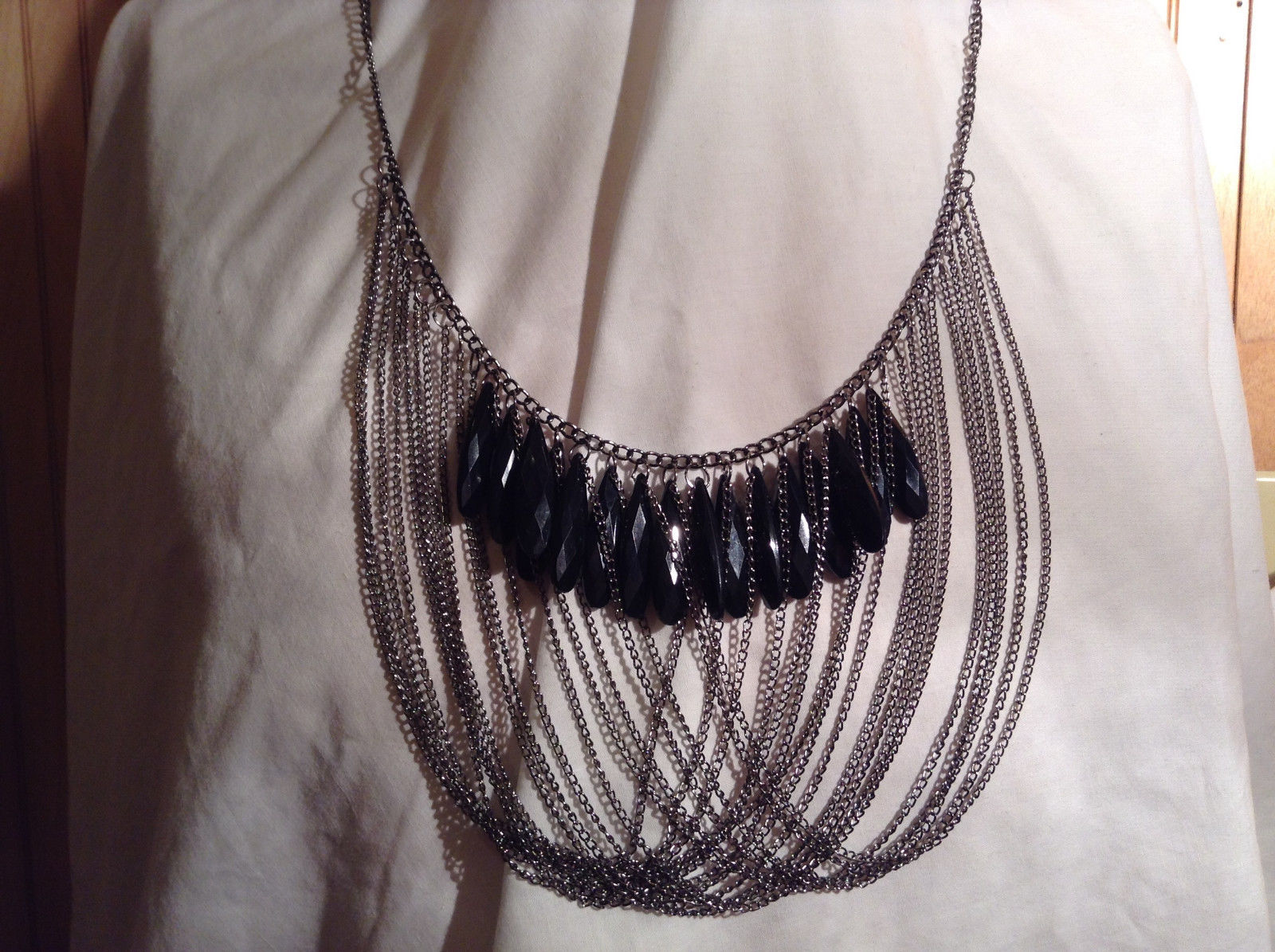 Steampunk Black Teardrop Bead Looped Chain Dark Silver Tone Statemtn Necklace