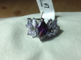 Stainless steel ring w giant amethyst CZ 10 stone side set choice of size 6 7 8