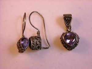 Sterling Silver and Amethyst Pendant and Earring Set