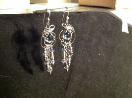 Sterling Silver Blue Topaz Wire Wrapped Dangling Earrings Blue Beads Dangling