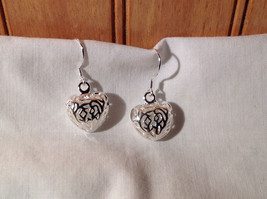 Sterling Silver Plated  Round Heart Filigree Dangling Earrings 3 D Heart