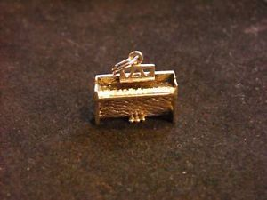 Sterling Silver Detailed Upright Piano Charm Pendant