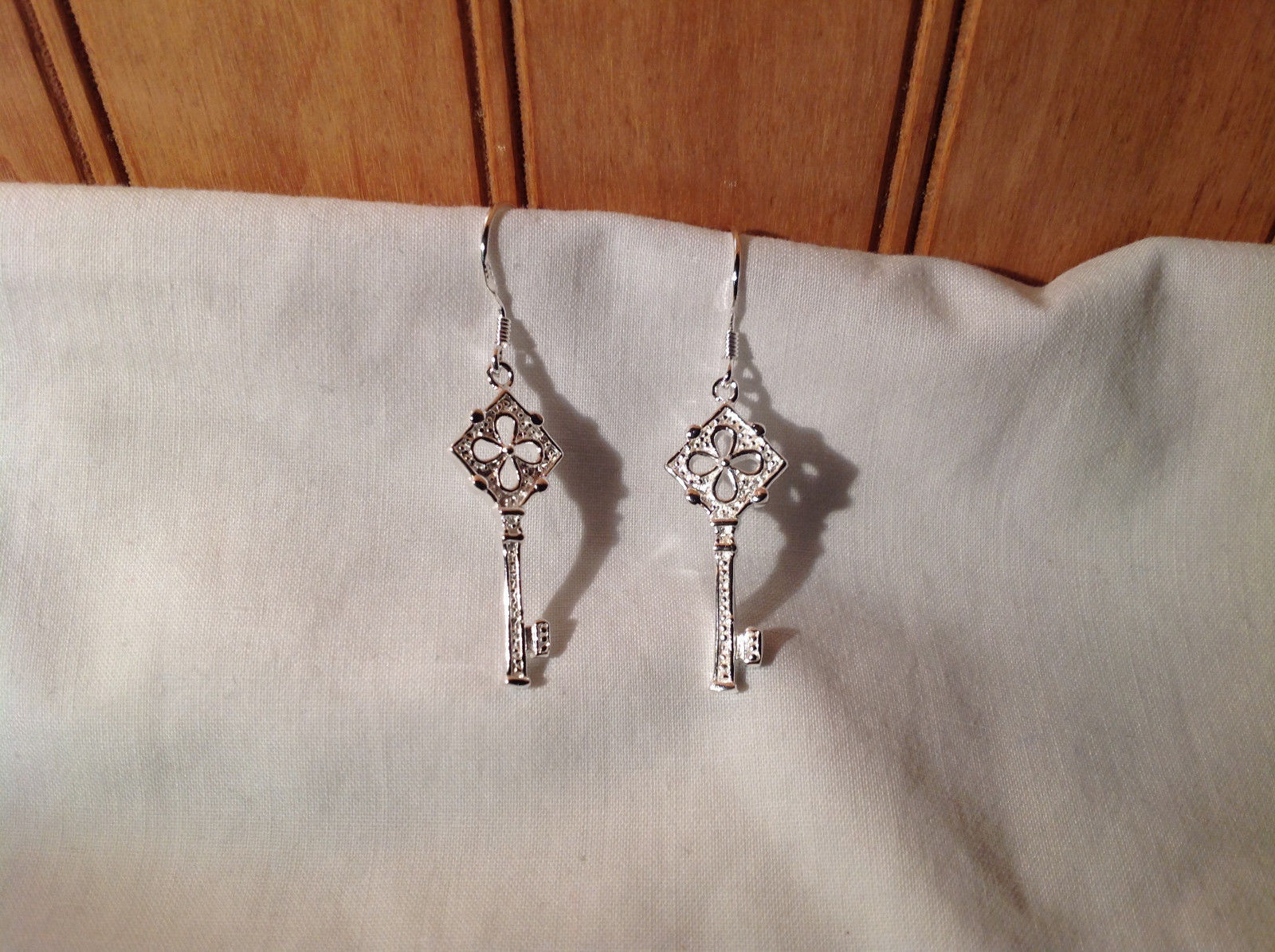 Sterling Silver plated Key Dangling Earrings w filigree
