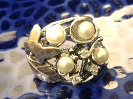 Sterling Silver Pearl Nature Inspired Butterfly Leaf Ring Size Choice 7 or 8