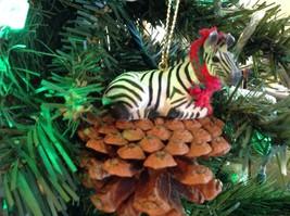 Pine Cone Pet Ornament Zebra Pine Cone Pet w real fabric scarf image 2