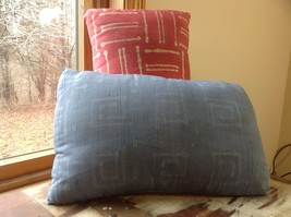Pillow Set Red Pattern and Blue Light Pink Pattern Pillow with Zipper on Side image 3