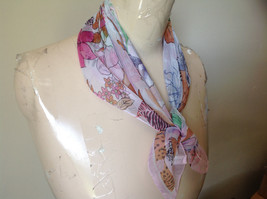 Pink Orange Green Tropical Flowered Square Fashion Scarf by Hanfei NO TAGS image 3