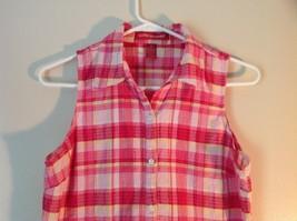 Pink Yellow Red Plaid Gloria Vanderbilt Sleeveless Button Down Blouse Size Small image 2