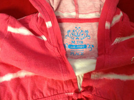 """""""Place"""" Girls Pink Hooded V-Neck Shirt Pink with White Stripes Size Medium 7/8 image 3"""