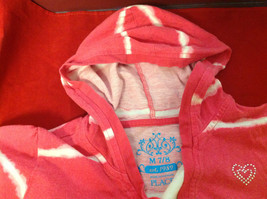 """""""Place"""" Girls Pink Hooded V-Neck Shirt Pink with White Stripes Size Medium 7/8 image 8"""