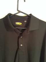 Play Dry by Greg Norman Black Short Sleeve Polo Shirt Size XL Detail Left Sleeve image 2
