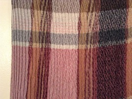 Pleated Light and Dark Shades of Pink Brown Gray Plaid Pattern Acrylic Scarf image 4