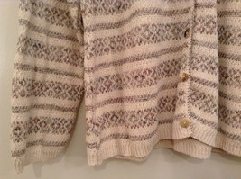 Reba Rose Size L Natural White Beige Striped Pattern Cardigan Button Front image 4
