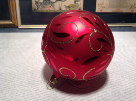 Red Ball Classic Gold Accents Old German Christmas Glass Tree Ornament image 5