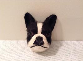 Recycled Rabbit Fur Boston Terrier Dog Head Magnet image 2
