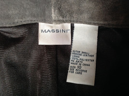 Real Suede Leather Brown Dress Pants Massini Zipper Button Clasp Closure Size 10 image 9