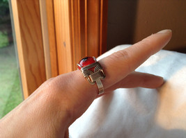 Red Eye Silver Tone Metal Wired Ring Size 7.75 image 5