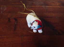Polar Bear with Scarf on Neck Ornament Gold Color String for Hanging image 2