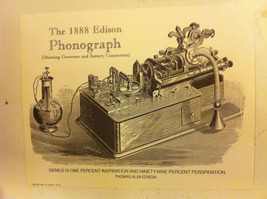 Poster of Edison 1888 Phonograph Steel Engraving Reproduction with genius quote image 3