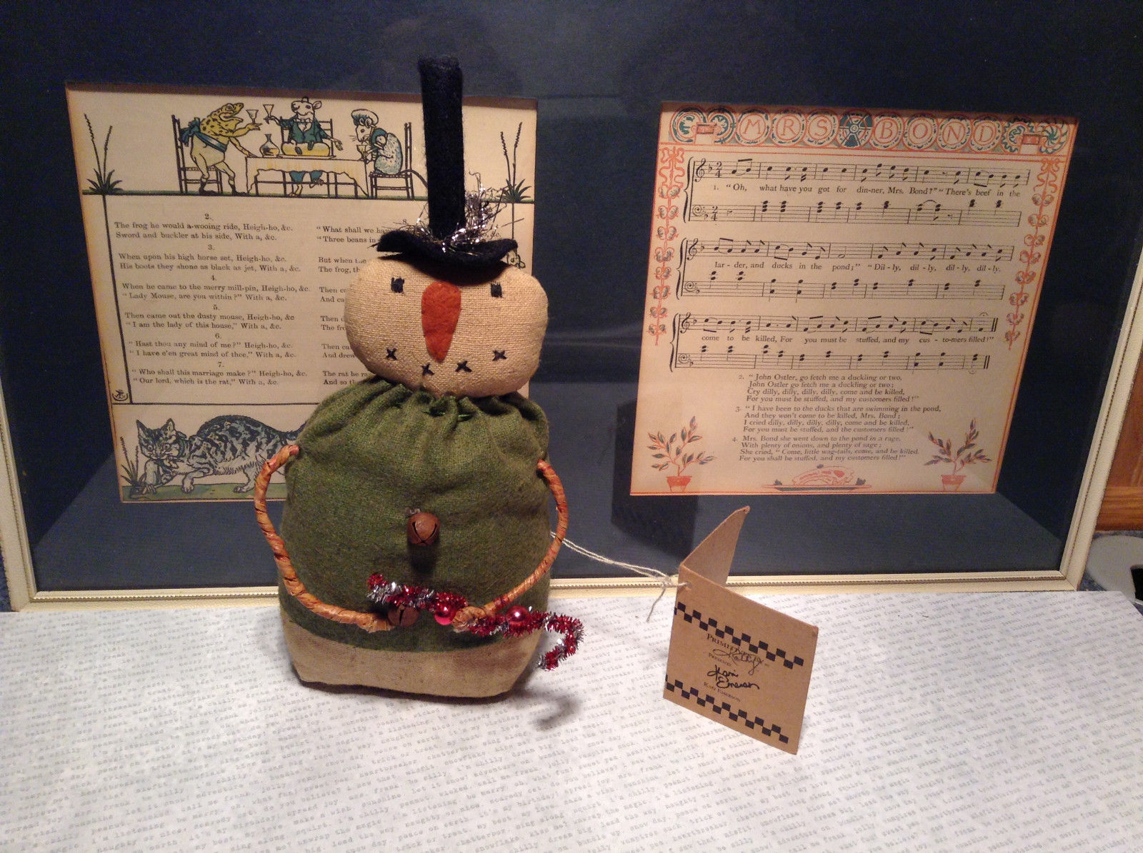 Stitched Snowman with Green Shirt and Bells Beanbag Butt Primitives by Kathy