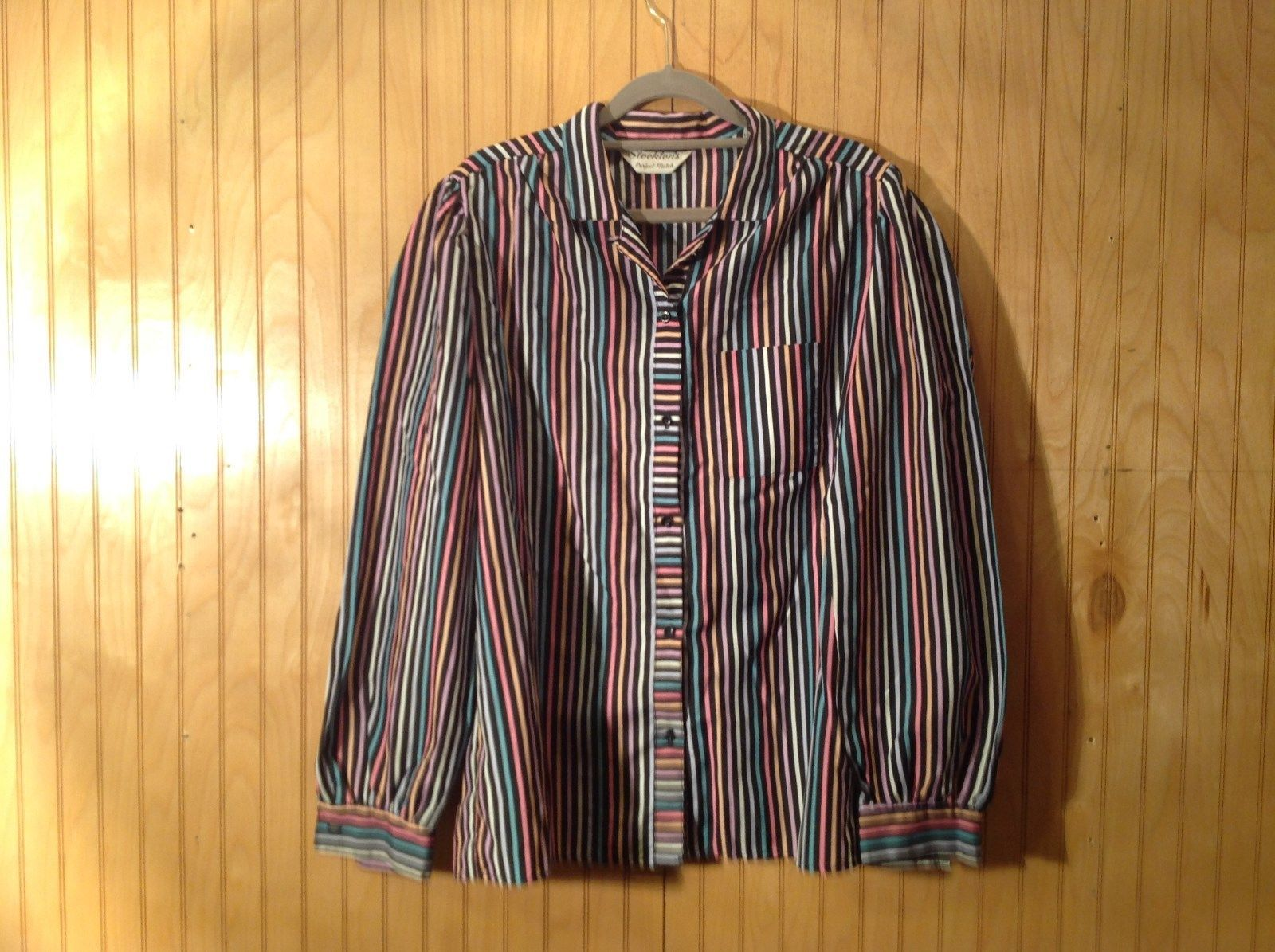 Stocktons Perfect Match Black Pink Blue Yellow Striped Shirt Size 16 by 31