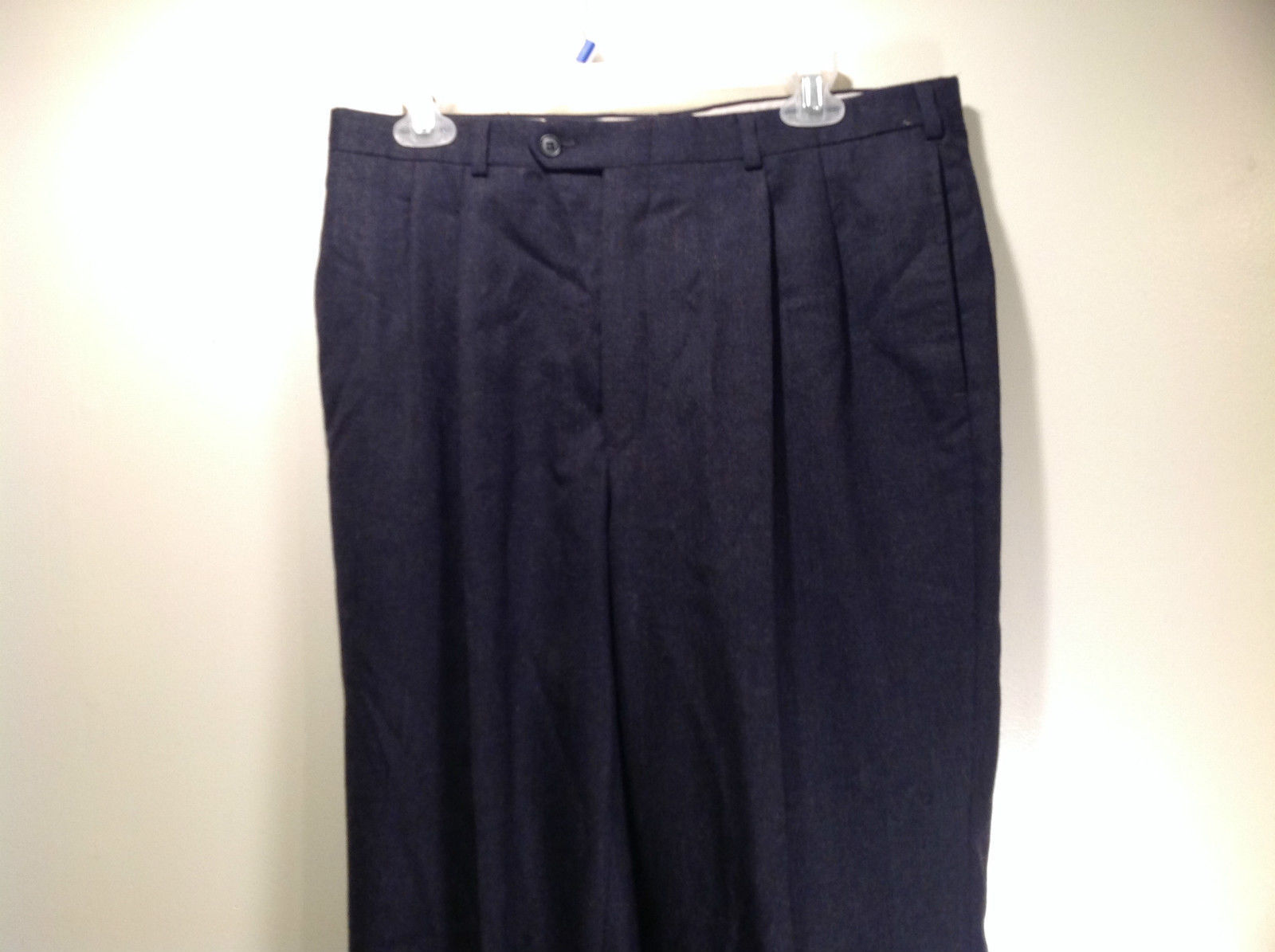 Strathmore Pure Worsted Wool Charcoal Pleated Front Dress Pants No Size Tag