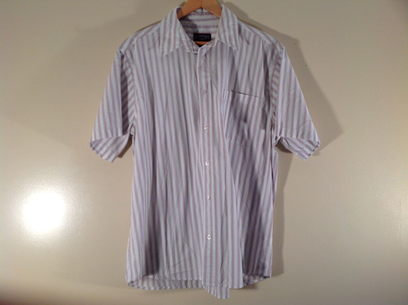 Steve and Barrys Relaxed Fit Short Sleeve Size XL Red White Blue Striped Shirt
