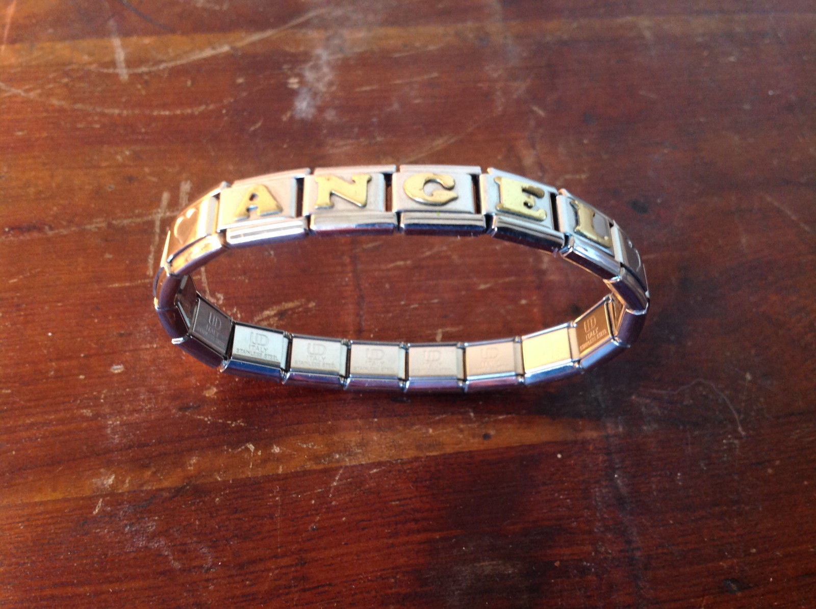 Stretchy Metal ANGEL Bracelet Gold Tone Letters Made in Italy Silver Tone