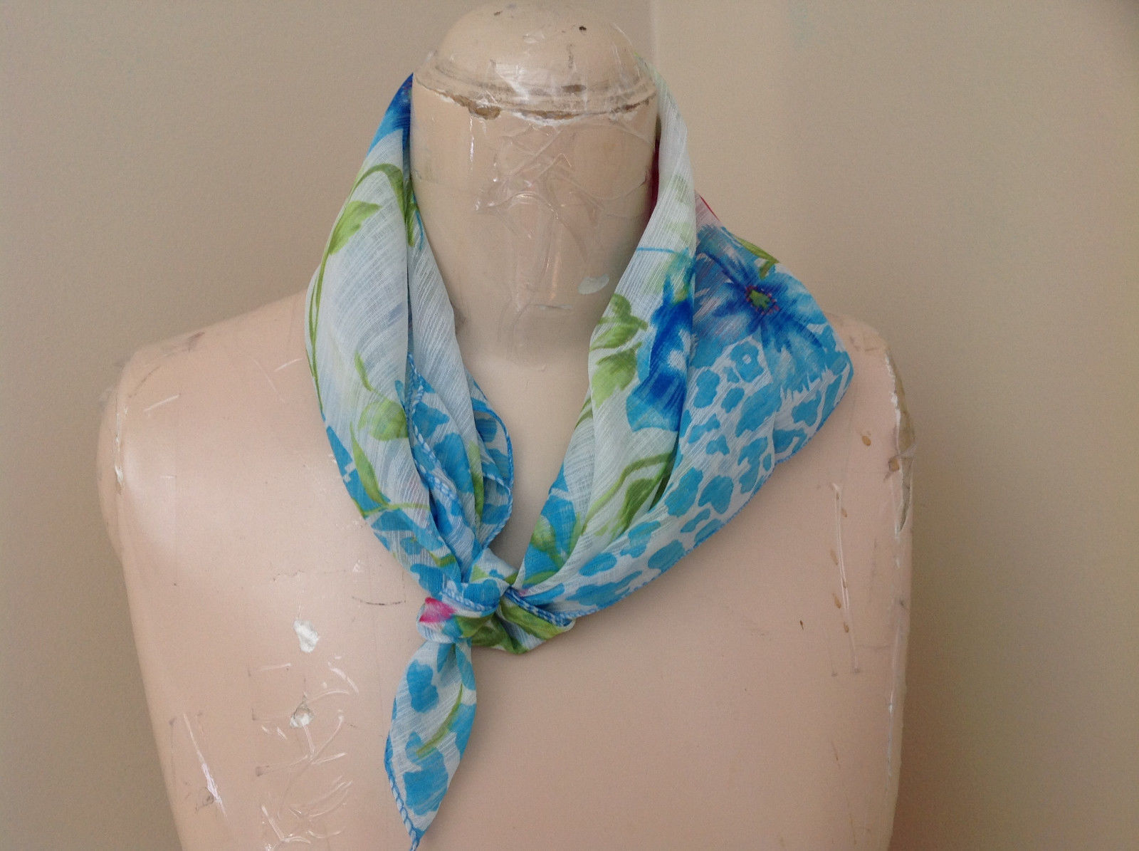 Striking Blue Pink Green Flower Animal Print Design Square Fashion Scarf