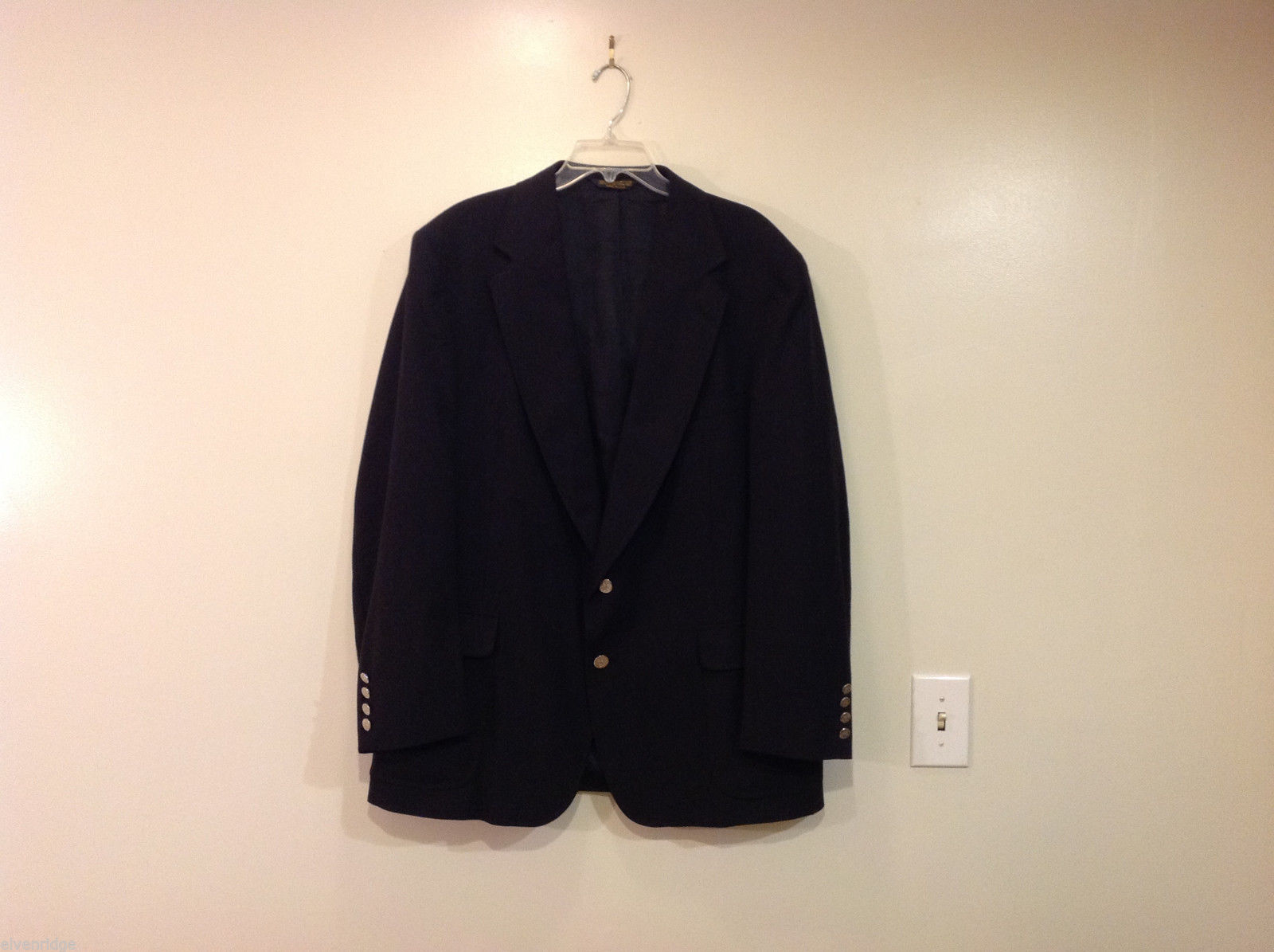 Strathmore by Anderson Little Black 100% Wool Blazer Suit Jacket Size 48R