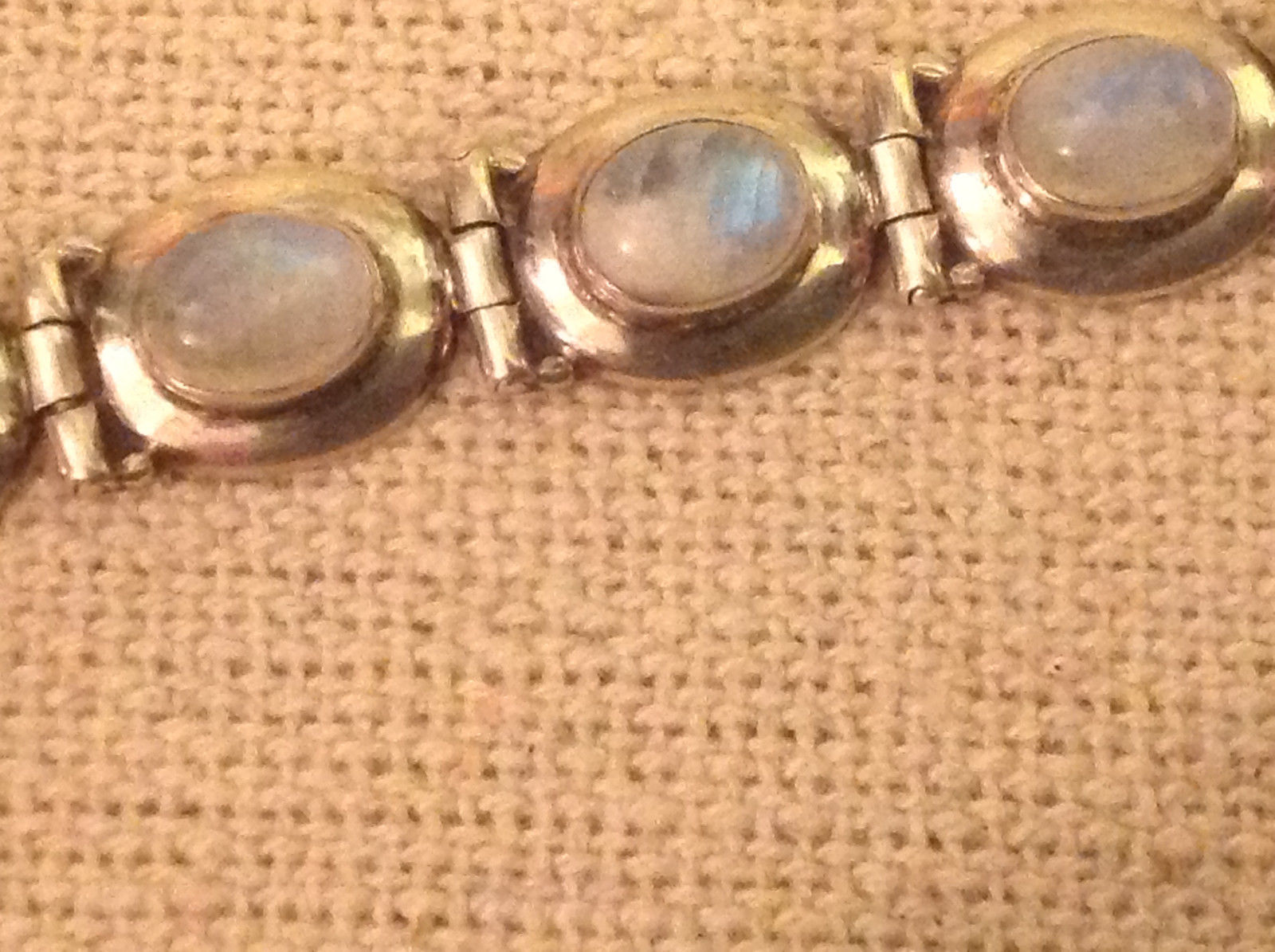 Sterling silver with gorgeous Balinese high luminosity moonstone bracelet