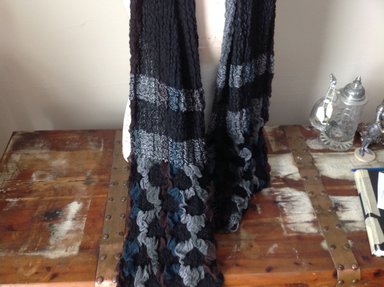 Stretchy Green and Brown Bohemian Scarf