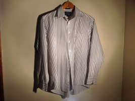 Strathmore White Striped Long Sleeve Buton Up Collared Dress Shirt Size 34 to 35