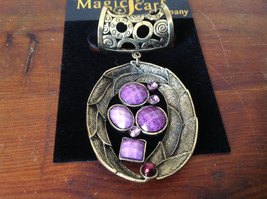 Striking Gold Tone Scarf Pendant with Purple Stones and Small Violet Crystals - $39.99