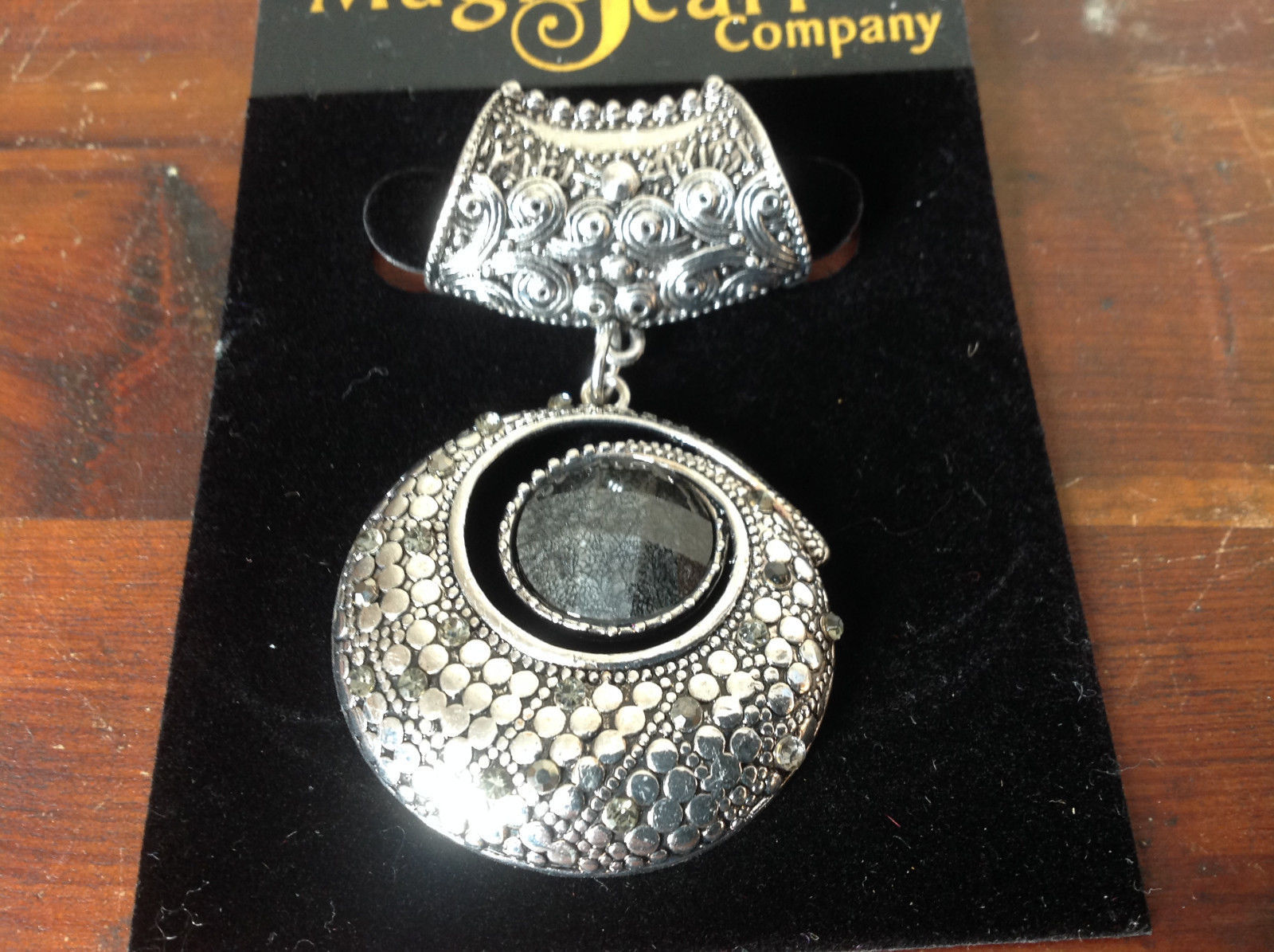 Striking Round Black Stone and Crystals Silver Tone Scarf Pendant by Magic Scarf