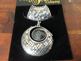 Striking Round Black Stone and Crystals Silver Tone Scarf Pendant by Magic Scarf - $39.99