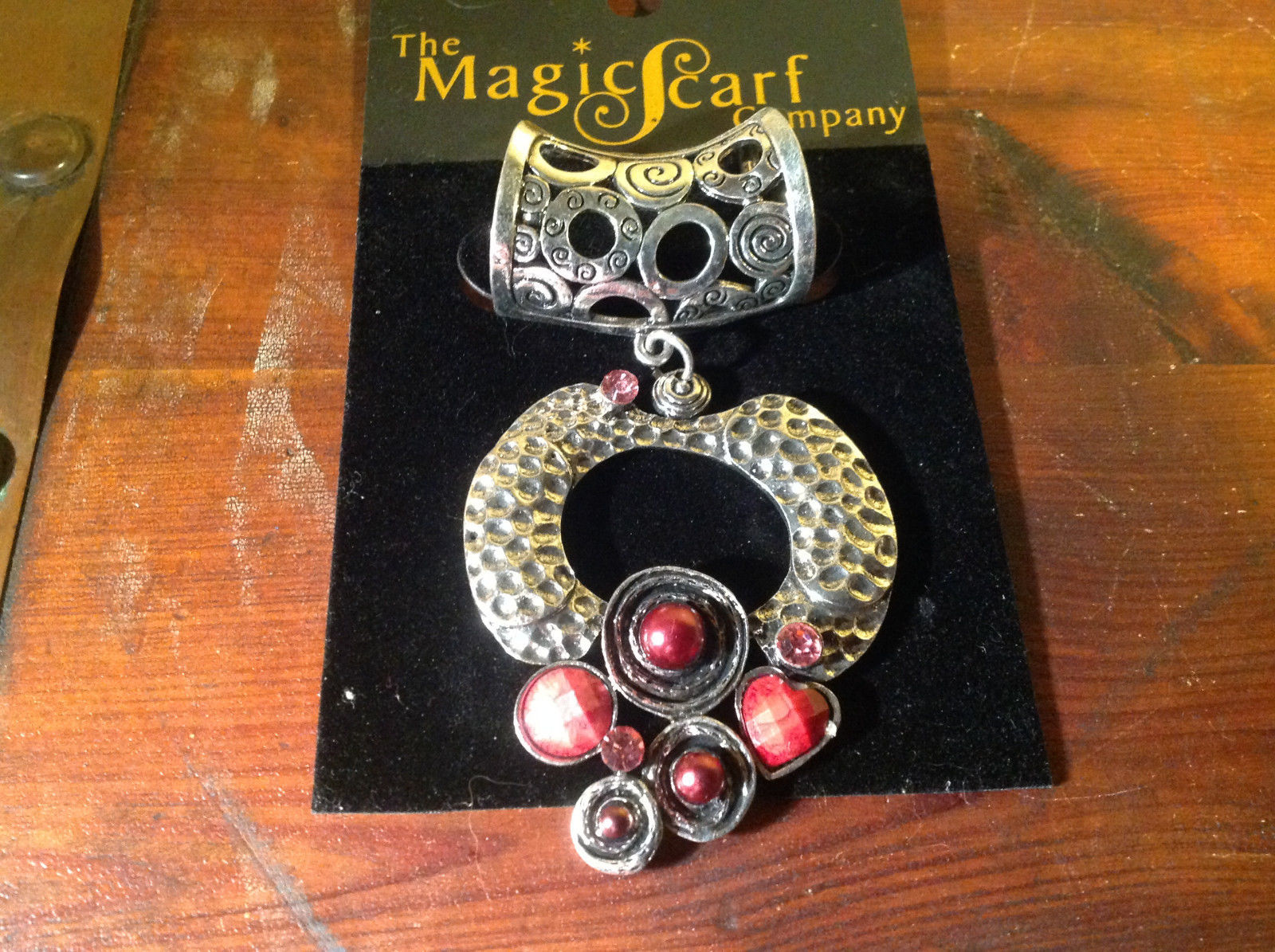 Striking Red Balls Crystals and Stones Silver Tone Scarf Pendant by Magic Scarf