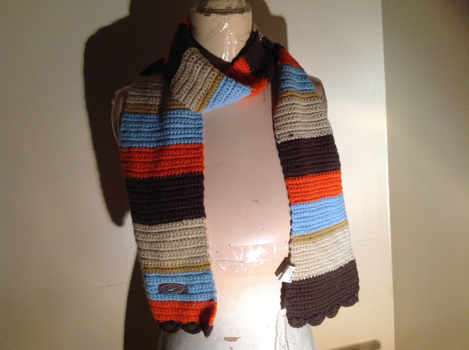 Striped Brown Orange Blue and Tan Knitted Scarf by Nike 68 Inches Long